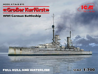 WWI German Grosser Kurfurst Battleship 1/700 ICM Models
