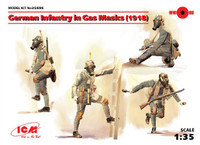 German Infantry in Gas Masks (4) w/Weapons & Equipment 1918 1/35 ICM Models