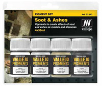 35ml Bottle Soot & Ashes Pigment Powder Set (4 Colors) Vallejo Paint