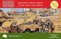 WWII German SdKfz 231 8-Rad Armoured Car (3) & Crew (6) 1/72 Plastic Soldier