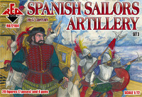 Spanish Sailors Artillery XVI-XVII Century (28 w/4Guns) 1/72 Red Box Figures