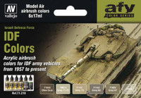 17ml Bottle IDF Vehicle Colors 1957-Present Model Air Paint Set (6 Colors) Vallejo Paint