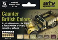 17ml Bottle British Caunter (Camo) Colors 1940-1941 Model Air Paint Set (6 Colors) Vallejo Paint