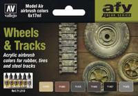 17ml Bottle Wheels & Tracks Model Air Paint Set (6 Colors) Vallejo Paint