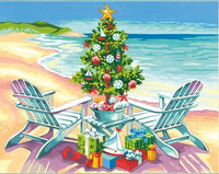 "Christmas on the Beach Paint by Number (14""x11"") Dimensions Paint by Number"