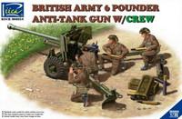 British Army 6-Pdr. Infantry Anti-Tank Gun w/4 Crew 1/35 Riich