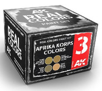 Real Colors: Afrika Korps Acrylic Lacquer Paint Set (4) 10ml Bottles AK Interactive