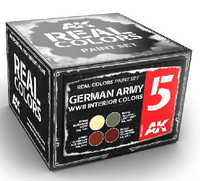 Real Colors: German Army WWII Interior Acrylic Lacquer Paint Set (4) 10ml Bottles AK Interactive