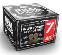 Real Colors: WWII Soviet AFV Acrylic Lacquer Paint Set (4) 10ml Bottles AK Interactive
