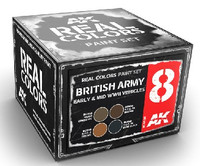 Real Colors: British Army Early & Mid WWII Vehicles Acrylic Lacquer Paint Set (4) 10ml Bottles AK Interactive