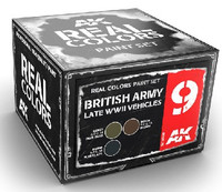 Real Colors: British Army Late WWII Vehicles Acrylic Lacquer Paint Set (3) 10ml Bottles AK Interactive
