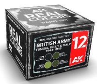 Real Colors: British Army Tunisia, Sicily & Italy 1942-1943 Acrylic Lacquer Paint Set (4) 10ml Bottles AK Interactive