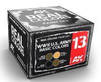 Real Colors: WWII US Army Basic Acrylic Lacquer Paint Set (4) 10ml Bottles AK Interactive