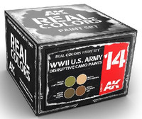 Real Colors: WWII US Army Disruptive Camo Acrylic Lacquer Paint Set (4) 10ml Bottles AK Interactive