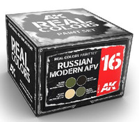 Real Colors: Russian Modern AFV Acrylic Lacquer Paint Set (4) 10ml Bottles AK Interactive