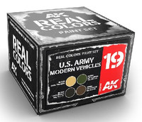 Real Colors: US Army Modern Vehicle Acrylic Lacquer Paint Set (4) 10ml Bottles AK Interactive