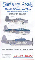 Operation Leader USS Ranger North Atlantic 1943 1/72 Starfighter Decals