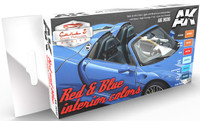 Cars & Civil Vehicles Series: Red & Blue Interiors Acrylic Paint Set (6 Colors) 17ml Bottles AK Interactive