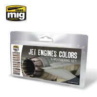 Jet Engines Colors and Weathering Paint Set (6 colors) AMMO of Mig Jimenez