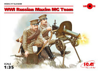 WWI Russian Maxim MG Team (2) w/MG, Weapons & Equipment 1/35 ICM Models