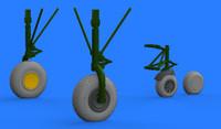 B-24 Wheels for EDU & HSG (Photo-Etch & Resin) 1/72 Eduard