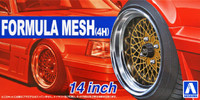 "Formula Mesh (4H) 14"" Tire & Wheel Set (4) 1/24 Aoshima"