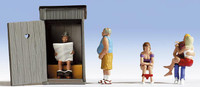 Outhouse w/Toilet Stitters, Man Standing, Kissing Couple HO Scale Noch