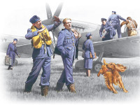 WWII RAF Pilots & Ground Personnel (7) w/Dog 1939-1945 1/48 ICM Models