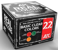 Real Colors: Basic Clear Colors Acrylic Lacquer Paint Set (3) 10ml Bottles AK Interactive