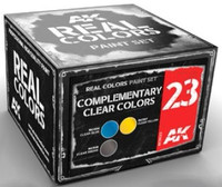 Real Colors: Complementary Clear Colors Acrylic Lacquer Paint Set (3) 10ml Bottles AK Interactive