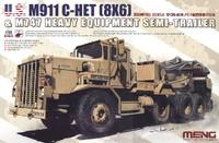 US M911 C-HET Heavy Tractor (8x6) & M747 Heavy Equipment Semi-Trailer 1/35 Meng Models