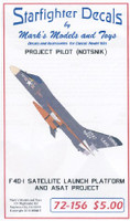 F4D-1 Skyray Satallite Launch Platform ASAT Project Pilot (NOTSNIK) for TAM 1/72 Starfighter Decals