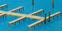 Wood-Type Boat Pier w/Docks (Kit) HO Scale Preiser Models
