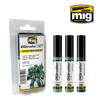 Mechas Green Tones Oilbrushes Set AMMO of Mig Jimenez