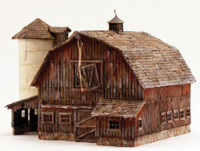 Built-N-Ready Old Weathered Barn LED Lighted O Scale Woodland Scenics
