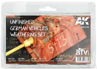 AFV Series: Unfinished German Vehicles Weathering Enamel Set (4 Colors, 2 Pencils) 35ml/17 Bottles AK Interactive