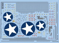 B-17F Blue Outlined Stars, Stenciling, National Insignia, Cockpit Instrumentation & Walkways, etc 1/72 Warbird Decals