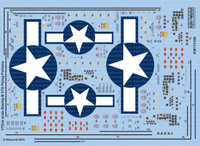 B-17G Blue Outlined Stars & Bars, Stenciling, National Insignia, Cockpit Instrumentation & Walkways, etc 1/72 Warbird Decals
