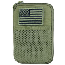Condor MA16 MOLLE Passport ID Wallet Phone Pocket Pouch w/ USA Flag- OD Green/ Black/ Tan/ Coyote Brown