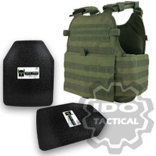 "Condor MOPC Molle Operator Plate Carrier (OD Green) + Pair of AR500 Armor® Level III 10"" x 12"" Curved ASC plates"