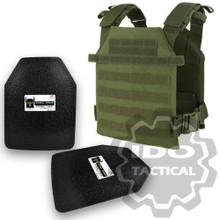 "Condor Sentry Plate Carrier (OD Green) + Pair of AR500 Armor® Level III 10"" x 12"" Curved ASC plates"