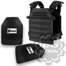 "Condor Sentry Plate Carrier (Black) + Pair of AR500 Armor® Level III 10"" x 12"" Curved ASC plates"