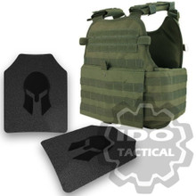 Condor MOPC Molle Operator Plate Carrier (OD Green) + Pair of Spartan Armor Systems AR500 Omega 10x12 Armor Plate (Shooters Cut)
