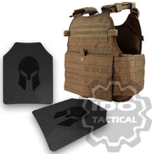 Condor MOPC Molle Operator Plate Carrier (Coyote Brown) + Pair of Spartan Armor Systems AR500 Omega 10x12 Armor Plate (Shooters Cut)