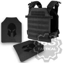 Condor Sentry Plate Carrier (Black) + Pair of Spartan Armor Systems AR500 Omega 10x12 Armor Plate (Shooters Cut)