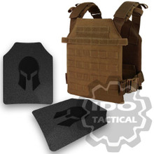 Condor Sentry Plate Carrier (Coyote Brown) + Pair of Spartan Armor Systems AR500 Omega 10x12 Armor Plate (Shooters Cut)