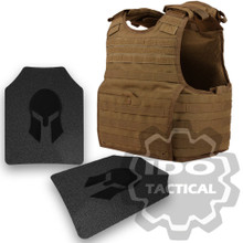 Condor 201165-498-L EXO Molle Infantry Operator Plate Carrier (Coyote Brown) + Pair of Spartan Armor Systems AR500 Omega 10x12 Armor Plate (Shooters Cut)