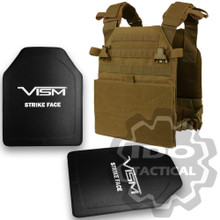 """Condor Vanquish Plate Carrier (Coyote Brown) + VISM® Hard Ballistic Armor Panel Level III (UHMWPE) 10""""X12"""" Shooters Cut / Single Curve"""
