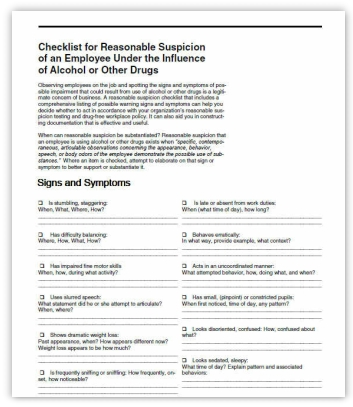 Checklist for Reasonable Suspicion Training Handout for DOT Training