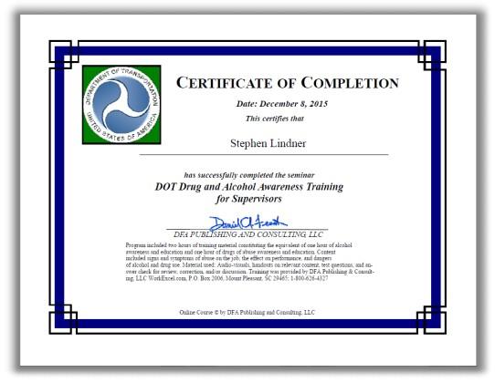 Reasonable Suspicion Training Certificate
